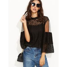 SheIn(sheinside) Black Lace Mesh Insert Keyhole Back Blouse With Cami... ($16) ❤ liked on Polyvore featuring tops, blouses, lace camisole, flutter sleeve blouse, 3/4 sleeve blouse, boho blouse and sexy blouses