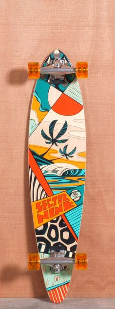 Sector 9 Island Time Orange Longboard Deck, i like the colors in this Painted Skateboard, Skateboard Deck Art, Penny Skateboard, Surfboard Art, Skateboard Design, Longboard Design, Longboard Decks, Art Patin, Deco Surf