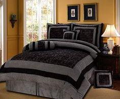 7 Pieces Black/Grey Short Fur with Suede Comforter Set Queen Bedding Set / Bed-in-a-bag, http://www.amazon.com/dp/B00AC1NBN0/ref=cm_sw_r_pi_awdm_3ucLub0M142TM