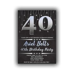 Items similar to Silver Happy Birthday Invitations Chalkboard black Cards 5 x 7 inch Milestone birthday Eat drink be forty Cheers to 40 on Etsy 55th Birthday, Happy 30th Birthday, 40th Birthday Parties, Birthday Celebration, Diy Banner, 50th Party, Year Quotes, Milestone Birthdays, Chalkboard