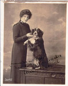 "This inscribed photo of Commander Evangeline Booth and her dog ""Boots"" is marked on the reverse side, ""To Adjt. Clement from Evangeline Booth"""