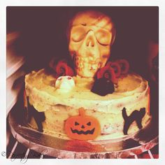 Red Velvet Halloween Cake with White Chocolate Skull, Red Marzipan Roses and Fondant Decorations