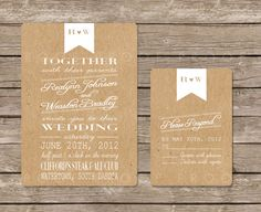 Wedding Invitation White Ribbon & Kraft Paper by twigsprintstudio, $2.75