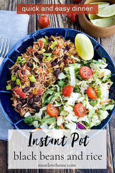 Instant Pot Black Beans and Rice is made quick and easy using a pressure cooker. Mildly spicy with green chilies and garlic, it's made from pantry staples and ready to serve in minutes. #mustlovehomecooking Using A Pressure Cooker, Instant Pot Pressure Cooker, Pressure Cooker Recipes, Best Vegetarian Recipes, Indian Food Recipes, Vegetarian Meals, Quesadillas, Burritos, Enchiladas