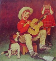 Singing CowBoy By Norman Rockwell