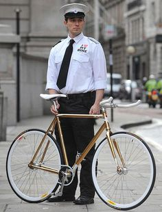 The 24ct gold framed bicycle has the optional extra of a security guard when it is left in public