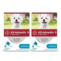 Advantix II Topical Medium Dog Flea & Tick Treatment, 2 Packs of 6 Rocky Mountain Spotted Fever, Mosquitoes, Flea And Tick, Lyme Disease, Medium Dogs, Ticks, Fleas, Pet Supplies