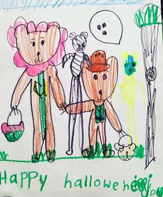 Love this lil' girl's drawing of Joy & his big sis Ayu enjoying trick or treating on Halloween!❤️️🎃👻 #HappyHalloween2016 #kids #fun #explorer #trickortreat #pumpkin #ghost #costumes #children #halloween #treats #bear #drawing #sketch #kidsdrawing #love #smile #candy #mummy #happy