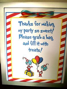 Dr Seuss Cat in the Hat Goodie Bag Favor Sign