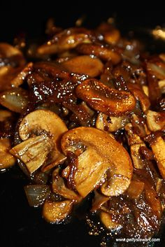 Sauteed mushrooms and onions are sooo good on top of a juicy steak or good old fashioned hamburger. It's an umami tsunami! Pretty straight forward recipe featuring mushrooms, onions, soy sauce and red wine.
