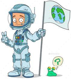 Cartoon Astronaut in Space Suit Characters Set