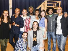 Photo 1 of 12 | Leslie Odom Jr. and Lin-Manuel Miranda are thrilled to be heading to Broadway in Hamilton! | Photos! Step Inside the Rehearsal Room with Lin-Manuel Miranda & the Cast of Broadway's Hamilton | Broadway.com