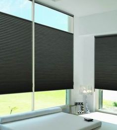 Complement contemporary design with the sophistication, style and energy efficiency of Duette® honeycomb shades.  ♦ Hunter Douglas window treatments #LivingRoom