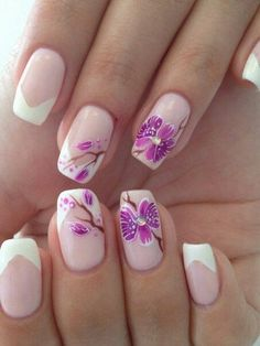 French Tip Flower Nail Art Ideas