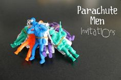 Dragonfly Designs: Parachute Men Invitations - could paint to fit party theme - superhero and Toy Story come to mind Handprint Painting, Birthday Fun, Birthday Ideas, Birthday Parties, Party Central, Man Party, Diy Invitations, Invites, Childrens Party