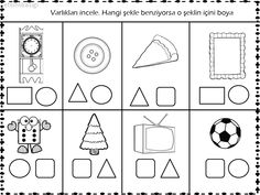 geometrik şekil çalışma sayfası 3d Shapes Kindergarten, Kindergarten Math Worksheets, Preschool Curriculum, Preschool Printables, Montessori Activities, Preschool Classroom, Preschool Learning, Math Sheets, Pre Writing