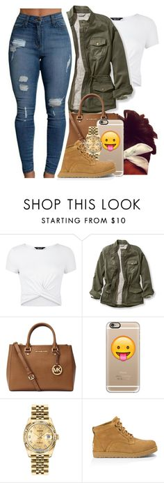 """""""11/20/16"""" by liveitup-167 ❤ liked on Polyvore featuring New Look, L.L.Bean, Michael Kors, Casetify, Rolex, UGG and plus size clothing"""