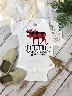 Buffalo Plaid Onesie®, Little Explorer, Moose Shirt, Plaid Moose Shirt, Lumberjack Party Buffalo Plaid Shirt, Family Tees, Sister Shirts, Baby Sister, Cute Designs, Baby Shower Gifts, Boy Shower, Onesies, Baby Onesie