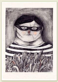 lesstalkmoreillustration: Marianne Engedal The Thief Material Didático, Mona Lisa, Folk, Illustration Art, Behance, Creative, Artwork, Painting, Inspiration