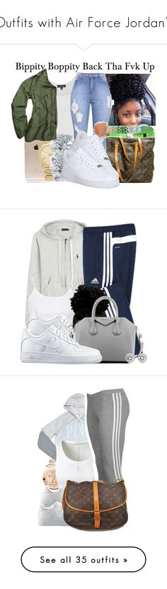 """""""Outfits with Air Force Jordan's"""" by barbiedatrillest ❤ liked on Polyvore featuring Incase, Michael Kors, Tiffany & Co., Topshop, NIKE, basicc, armygreenn, Polo Ralph Lauren, adidas and Givenchy"""