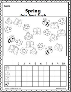 Color, count, and graph activity for spring, garden, and insect units.