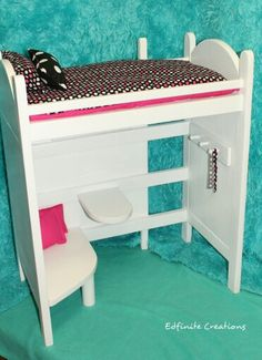 "Wooden Loft bed with sitting area for American  Girl Doll or 18 "" dolls! !! https://www.etsy.com/listing/257302959/american-girl-doll-loft-bedsitting-area"
