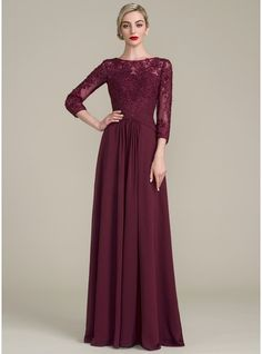 Vestidos princesa/ Formato A Decote redondo Longos Tecido de seda Renda Vestido para a mãe da noiva com Pregueado Beading lantejoulas (008107651)