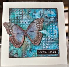 Creativity: Love this .. An ink background with a stamp, some stencils a butterfly and dazzling drops of Designs By Ryn; Jan 2014