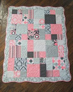 Quilt For Baby Girl, Scalloped Border, Colors Are Pink, Gray, And White (attractive Baby Girl Quilt Pattern #1)