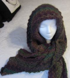 Crochet Hooded Scarf in a Beautiful Multi Color by Kitkateden, $25.00