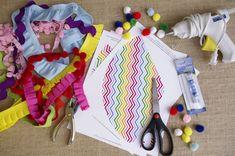 DIY Rainbow Chevron Party Hat Supplies