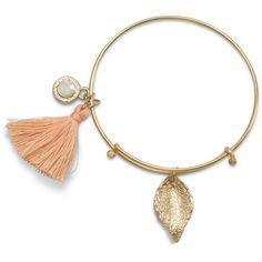 Gold Tone Expandable Peach Tassel Charm Fashion Bangle Bracelet ($19) ❤ liked on Polyvore featuring jewelry, bracelets, expandable charm bangle, bracelets bangle, leaf jewelry, hinged bangle and tassel jewelry