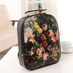2017 fashion print backpack women backpack small female PU backpack school bag