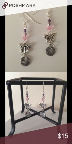 Handcrafted Butterfly Earrings Pink, Purple and Silver Beading With Cute Butterfly and Hammered Coin Drops. Handcrafted. Original and designed by me. New and never worn. Jewelry Earrings