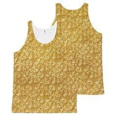 Vintage Floral Lace Leaf Yellow All-Over Print Tank Top Tank Tops