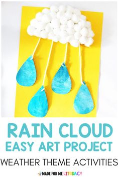 Need spring weather themed activities for your classroom? Check out this blog post with tons of hands-on and engaging literacy, math, science, art, and sensory ideas kids will love! These fun printable lesson plans are great for preschool, kindergarten, homeschool, or special education students. Toddlers will love the sensory bin and crafts! #easyart #toddlercrafts