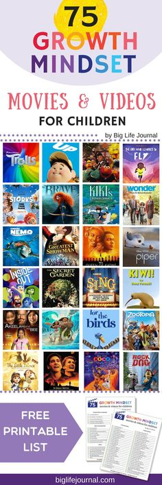 Top 75 Growth Mindset Movies for Children – Big Life Journal Growth Mindset For Kids, Growth Mindset Activities, Growth Mindset Lessons, Growth Mindset Classroom, Classroom Behavior, Social Emotional Learning, Social Skills, Fixed Mindset, Leader In Me
