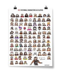 Have you ever wondered how the Joker would look as a sloth? How about Harry Potter? This poster features 101 of your favorite fictional characters immortalized as sloths. Harry Potter, Sci Fi Books, Character Costumes, Books To Read, Sloths, Words, Poster, Fictional Characters, Random Stuff