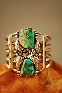 Cuff | Will Denetdale (Navajo).  Sterling silver, Natural Royston Turquoise.