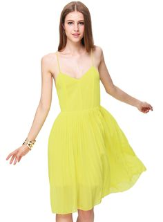 Neon Yellow Spaghetti Strap Backless Pleated Dress 15.90