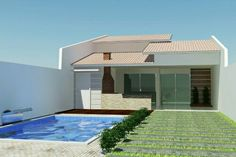House plans dream homes bricks 28 ideas for 2019 Pool House Plans, Small House Plans, Small Backyard Pools, Small Pools, Tiny House Cabin, My House, Style At Home, Little Houses, Modern House Design