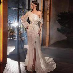Sequin Evening Dresses, Long Sleeve Evening Dresses, Evening Dresses For Weddings, Evening Gowns, Champagne Evening Gown, Champagne Long Dress, Gowns For Party, Long Sleeve Mermaid Dress, Sexy Evening Dress