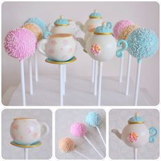 Nachmittagstee Cake Pops - My Cake Pops - Kuchen Afternoon Tea Cakes, Afternoon Tea Parties, Cake Pop Decorating, Teapot Cake, Vintage Tea Parties, Party Cakes, Tea Party Cupcakes, Party Treats, Cake Pops How To Make