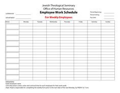 Printable Schedules  Daily Work Hours And Weekly Overages With