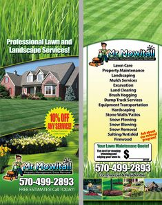 Lawn Care And Landscaping Door Hangers