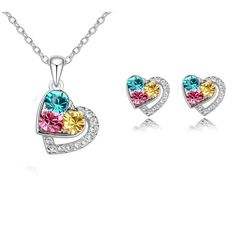 Heart+Crystal+Necklace+and+Earrings+Set