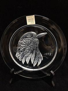 Lalique France Crystal Plate Petit Geai Jayling 1973 Mint w/ Box