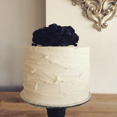 Rustic frosted cake with handmade black roses by Jessie Strydom and The Birdcage, Stellenbosch