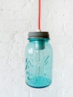 816dac8062b Industrial Lighting - Vintage Mason Ball Jar Pendant w  Neon Orange Pink  Cord.