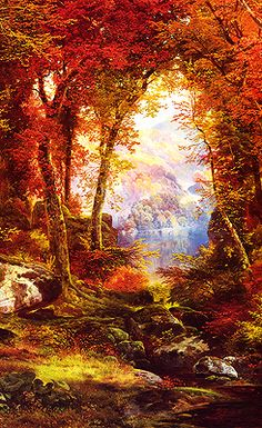 Thomas Moran The Autumnal Woods painting for sale - Thomas Moran The Autumnal Woods is handmade art reproduction; You can shop Thomas Moran The Autumnal Woods painting on canvas or frame. Landscape Art, Landscape Paintings, Landscapes, Western Landscape, Art Paintings, Edward Moran, Gravure Photo, John Everett Millais, Thomas Moran